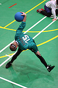 Mitglieder des ungarischen Goalball Teams beim Anwerfen während dem internationalen Turnier in Budapest. Goalball ist eine Mannschaftssportart für blinde und sehbehinderte Menschen und wurde vom Österreicher Hans Lorenzen und dem deutschen Sepp Reindle für Kriegsinvalide entwickelt und zum ersten Mal 1946 gespielt. Die Bilder entstanden auf zwei internationalen Goalball Turnieren in Budapest und Zagreb 2007.<br /> <br /> Member of the hungarian Goalball team throwing a ball at the international tournament in Budapest. Goalball is a team sport designed for blind and visually impaired athletes. It was devised by an Austrian, Hanz Lorenzen, and a German, Sepp Reindle, in 1946 in an effort to help in the rehabilitation of visually impaired World War II veterans. The International Blind Sports Federatgion (IBSA - www.ibsa.es), responsible for fifteen sports for the blind and partially sighted in total, is the governing body for this sport. The images were made during two Goalball tournaments in Budapest and Zahreb 2007.