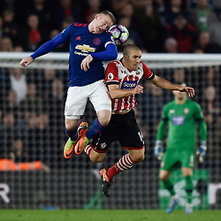 May 17, 2017 - Southampton, United Kingdom - Manchester United's WAYNE ROONEY in action with Southampton's ORIOL ROMEU during Premier League action at St Mary's Stadium. (Credit Image: © Hannah Mckay/Action Images via ZUMA Press)