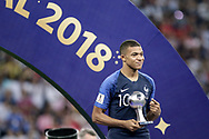 Kylian Mbappe of France, FIFA Young Player Award ( Best young player of the World Cup 2018 ) after the 2018 FIFA World Cup Russia, final football match between France and Croatia on July 15, 2018 at Luzhniki Stadium in Moscow, Russia - Photo Thiago Bernardes / FramePhoto / ProSportsImages / DPPI