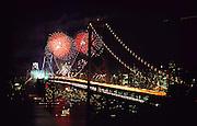 Oakland-San Francisco Bay Bridge 50th Anniversary Celebration - photographed from Yerba Buena Island. City lights of San Francisco seen in the background.