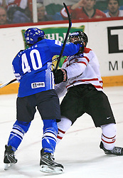 Sami Lepisto of Finland hit by accident Derek Roy of Canada at ice-hockey game Canada vs Finland at Qualifying round Group F of IIHF WC 2008 in Halifax, on May 12, 2008 in Metro Center, Halifax, Nova Scotia, Canada. Canada won 6:3. (Photo by Vid Ponikvar / Sportal Images)