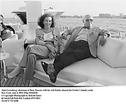 Alan Greenberg, chairman of Bear Stearns with his wife Kathy aboard the Forbes's family yacht. New York. July 4 1993. Film 93266f20<br />© Copyright Photograph by Dafydd Jones<br />66 Stockwell Park Rd. London SW9 0DA<br />Tel 0171 733 0108