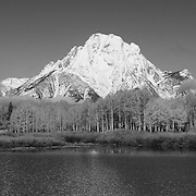 Grand Tetons - Oxbow Bend, WY - Panoramic - Black & White