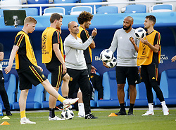 June 27, 2018 - Kaliningrad, Russie - KALININGRAD, RUSSIA - JUNE 27 : Robert Huygens member of Royal Belgian Football Federation, Thierry Henry ass. coach of Belgian Team  during a training session of the National Soccer Team of Belgium prior to the FIFA 2018 World Cup Russia group G phase match between England and Belgium at the Kaliningrad Stadium on June 27, 2018 in Kaliningrad, Russia, 27/06/2018 (Credit Image: © Panoramic via ZUMA Press)