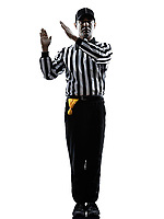 american football referee gestures intentional grounding in silhouette on white background