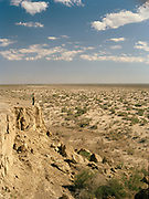The former shore of the Aral sea. now 180 Km away.<br /> <br /> In Moynaq town, former fishing port on the Aral Sea, now 180km from shore. <br /> Since 1960's, The Aral Sea has been drained of 75% of its water, because of the diversion of upstream rivers that are used for cotton plantation. It use to be the 4th largest lake in the world. The resulting desertification is accelerating dramatically global warming. High salinity means no more fish. Anthrax and rabbies test were also done in a former island in the sea that is now linked to the shore.... <br /> Uzbekistan.