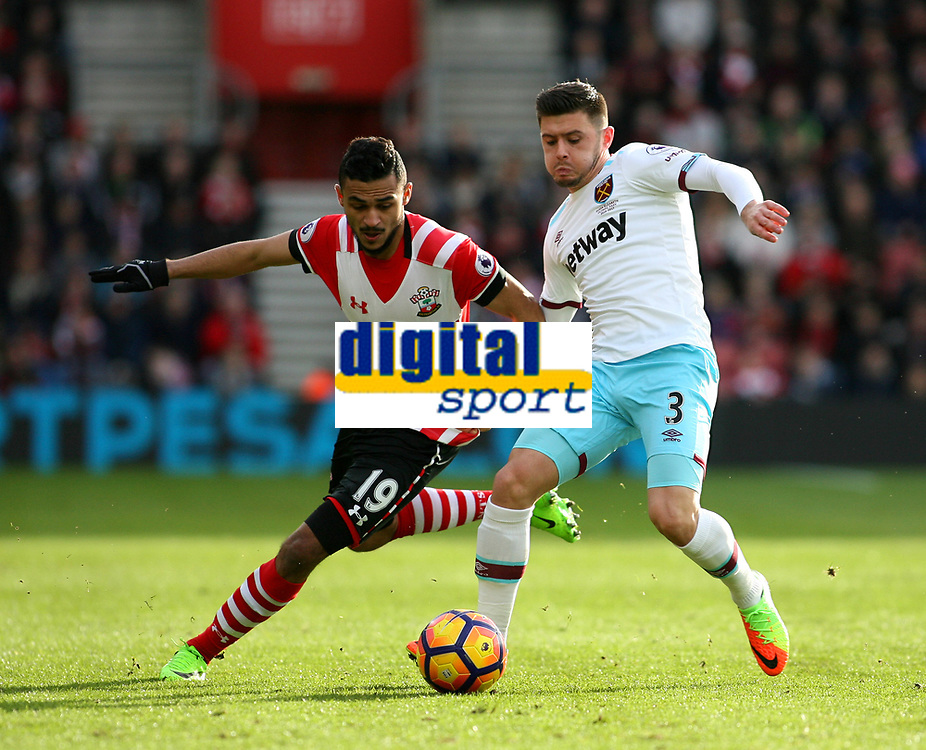 Football - 2016 / 2017 Premier League - Southampton vs. West Ham United<br /> <br /> Southampton's Sofiane Boufal tries to pass Aaron Cresswell of West Ham United at St Mary's Stadium Southampton England<br /> <br /> COLORSPORT/SHAUN BOGGUST