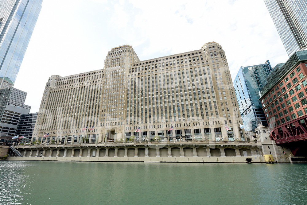 The historic Merchandise Mart building along the Chicago River in Chicago, Illinois. Photo by Mark Black