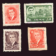 Iranian stamps depicting the Shah of Iran Mohammad Reza Pahlavi