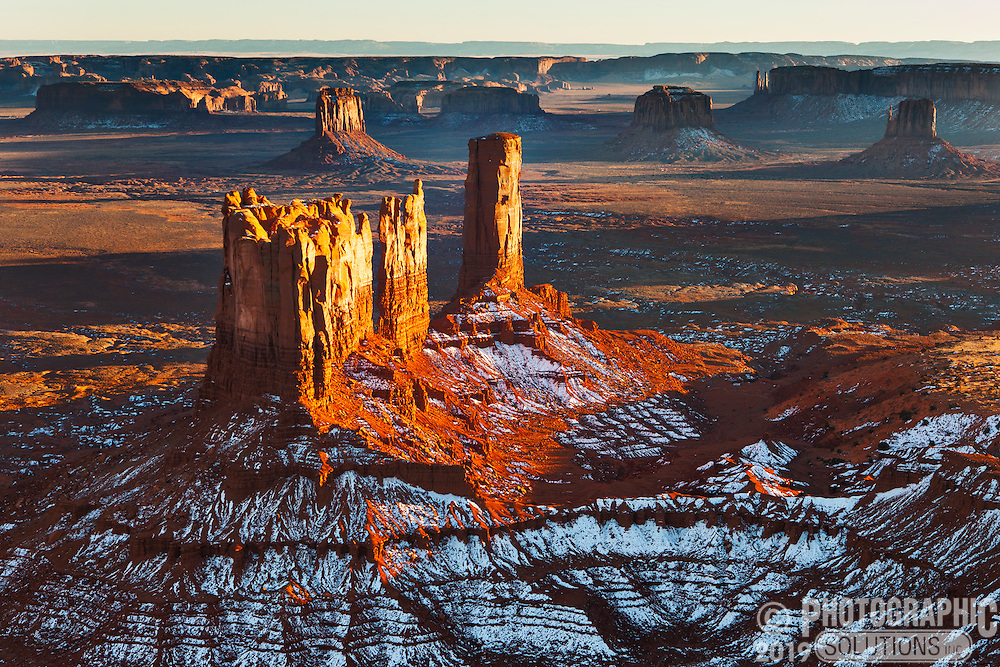 The Stagecoach and Bear and Rabbit formations in Monument Valley