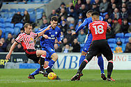Cardiff City's new signing Yanic Wildschut © is challenged by Sunderland's Lee Cattermole ( left). EFL Skybet championship match, Cardiff city v Sunderland at the Cardiff city stadium in Cardiff, South Wales on Saturday 13th January 2018.<br /> pic by Carl Robertson, Andrew Orchard sports photography.