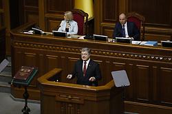 September 7, 2017 - Kiev, Ukraine - President of Ukraine Petro Poroshenko has his annual address to lawmakers in Parliament, Kyiv, Ukraine, September 7, 2017. (Credit Image: © Sergii Kharchenko/NurPhoto via ZUMA Press)