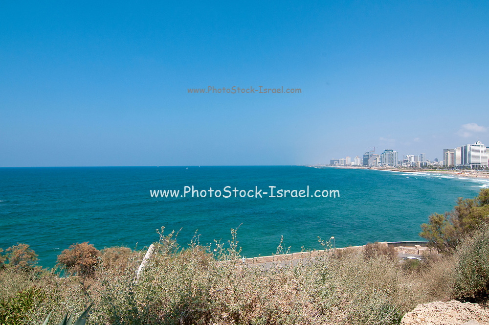 Israel,Tel Aviv beachfront and skyline as seen from south, from Jaffa
