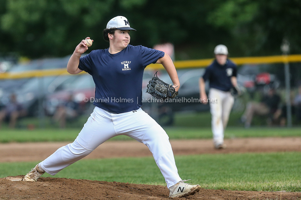 Medway's Mike Hevey delivers a pitch during the Senior Babe Ruth during the league game against Westborough at Westborough High School, on Jul. 17, 2020. [Daily News and Wicked Local Photo/Dan Holmes]