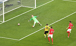 Belgium's Eden Hazard (centre) scores his side's second goal of the game during the FIFA World Cup third place play-off match at Saint Petersburg Stadium.