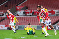 Tyrese Campbell of Stoke City turns away from goal after scoring - Mandatory by-line: Nick Browning/JMP - 24/11/2020 - FOOTBALL - Bet365 Stadium - Stoke-on-Trent, England - Stoke City v Norwich City - Sky Bet Championship