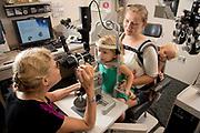 pediatric eye care at Duke Eye Center<br /> Sharon Freedman examining a patient