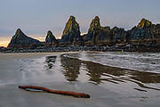 Sea stacks and beach south of Seal Rock State Recreation Site, Oregon coast, USA. We overnighted at the adjacent Seal Rocks RV Cove.
