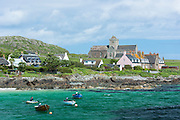 The ancient Iona Abbey and St Oran's Chapel on Isle of Iona in the Inner Hebrides and Western Isles, West Coast of Scotland