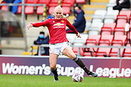 Manchester United defender Maria Thorisdottir (3) controls the ball during the FA Women's Super League match between Manchester United Women and Reading LFC at Leigh Sports Village, Leigh, United Kingdom on 7 February 2021.