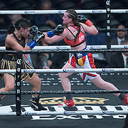 Female boxer Alicia Napoleon (L) fights Femke Hermans during the WBC Heavyweight Championship boxing match at Barclays Center on Saturday, March 3, 2018 in Brooklyn, New York. (Alex Menendez via AP)