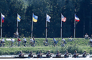 Hazewinkel. BELGIUM, USA JW8+, approaching the finishing line to win a Bronze Medal, Bow. Erin BECHT,  Dana PEIRCE,  Elizabeth NELSON,  Carolyn GOLTRA,  Portia MC GEE,  Rachel BRUNELLE,  Sarah BRENNAN,  Alison HICKEY,  and  Cox, Carrie HUTTENLOCHER. competing at the 1997 FISA Junior World Rowing Championships. Course, Bloso Rowing Centre, Heindonk, Willebroek, Mechelen, Belgium.<br /> <br /> <br /> [Mandatory Credit; Peter Spurrier/Intersport-images] 1997 Junior World Rowing Championships, Hazewink