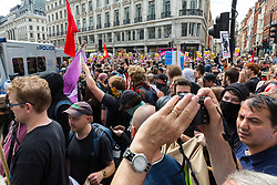 "Anti-fascist counter protesters march along Regent Street as several hundred protesters in central London demand the release of ""political prisoner"" right wing talisman Stephen Yaxley-Lennon  - also known as Tommy Robinson, who was imprisoned for contempt of court. London, August 03 2019."