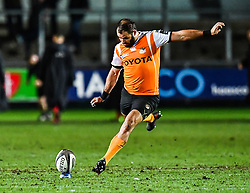 Cheetahs' Niel Marais kicks a penalty<br /> <br /> Photographer Craig Thomas/Replay Images<br /> <br /> Guinness PRO14 Round 18 - Dragons v Cheetahs - Friday 23rd March 2018 - Rodney Parade - Newport<br /> <br /> World Copyright © Replay Images . All rights reserved. info@replayimages.co.uk - http://replayimages.co.uk