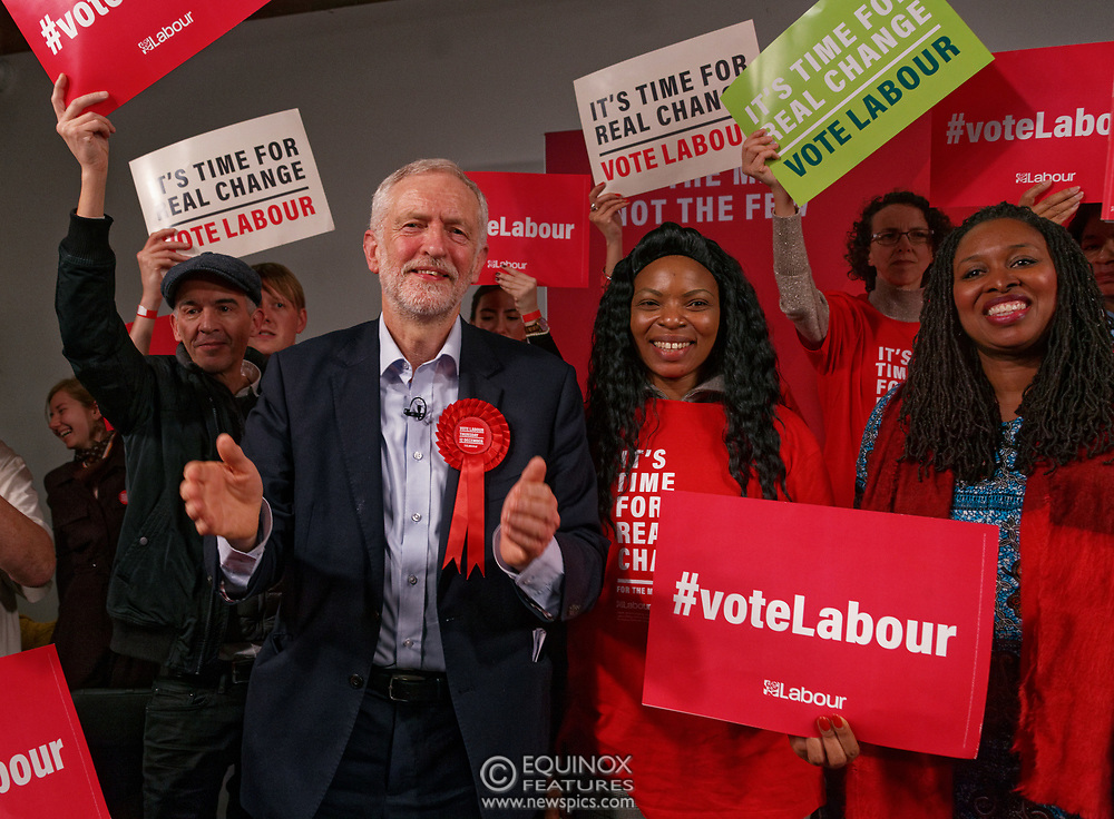 London, United Kingdom - 11 December 2019<br /> Labour Party leader Jeremy Corbyn speaking at their final campaign rally before the General Election 2019 at Hoxton Docks, London, England, UK.<br /> (photo by: EQUINOXFEATURES.COM)<br /> Picture Data:<br /> Photographer: Equinox Features<br /> Copyright: ©2019 Equinox Licensing Ltd. +443700 780000<br /> Contact: Equinox Features<br /> Date Taken: 20191211<br /> Time Taken: 21565278<br /> www.newspics.com