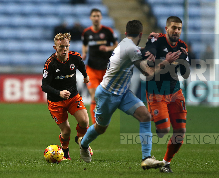 Mark Duffy of Sheffield Utd during the English League One match at the Rioch Arena Stadium, Coventry. Picture date: December 15th, 2016. Pic Simon Bellis/Sportimage