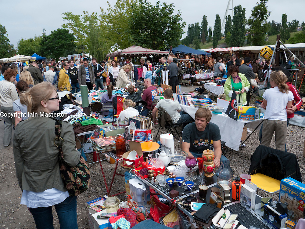 Busy weekend flea Market at Mauer Park in Prenzlauer Berg district of Berlin