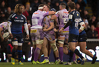 Exeter Chiefs' Sam Simmonds celebrates scoring a try for his side<br /> <br /> Photographer Bob Bradford/CameraSport<br /> <br /> European Rugby Heineken Champions Cup Group B - Exeter Chiefs v Sale Sharks - Sunday 15th December 2019 - Sandy Park - Exeter<br /> <br /> World Copyright © 2019 CameraSport. All rights reserved. 43 Linden Ave. Countesthorpe. Leicester. England. LE8 5PG - Tel: +44 (0) 116 277 4147 - admin@camerasport.com - www.camerasport.com