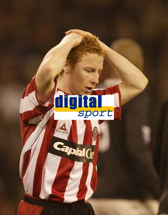 Photo: Aidan Ellis.<br /> Sheffield United v Manchester City. The Barclays Premiership. 26/12/2006.<br /> Sheffield's Stephen Quinn cant belive he has just missed a chance to score