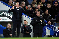Leicester City Manager Claude Puel reacts. Premier League match, Chelsea v Leicester City at Stamford Bridge in London on Saturday 13th January 2018.<br /> pic by Steffan Bowen, Andrew Orchard sports photography.