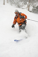 Telemark skiing the Mount Mansfield backcountry in Stowe, Vermont