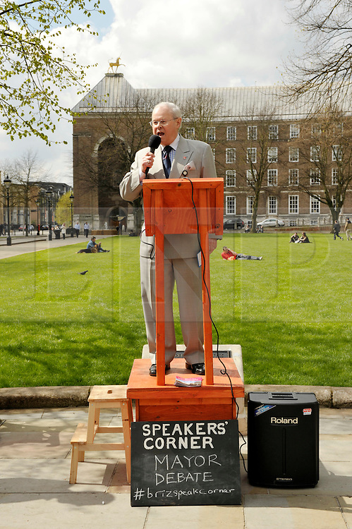 © Licensed to London News Pictures. 13/04/2012. Bristol, UK. Bristol City Councillor and former Lord Mayor Peter Abraham takes part in an open air debate whether Bristol should have an elected mayor at a speakers corner debate at College Green in front of Bristol's Council House..Photo credit : Simon Chapman/LNP