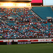 United States Defenseman Oguchi Onyewu (5) warms up as the sun starts to set prior to an international friendly soccer match between Scotland and the United States at EverBank Field on Saturday, May 26, 2012 in Jacksonville, Florida.  The United States won the match 5-1 in front of 44,000 fans. (AP Photo/Alex Menendez)
