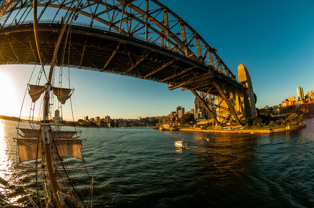 """View of the Sydney Harbour Bridge from the mast of the tall ship """"Southern Swan"""", Sydney, New South Wales, Australia"""