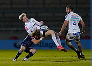 Sale Sharks scrum-half Faf De Klerk puts a big hit on Exeter Chiefs full-back Josh Hodge during a Gallagher Premiership Round 11 Rugby Union match, Friday, Feb 26, 2021, in Eccles, United Kingdom. (Steve Flynn/Image of Sport)