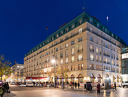 Night view of Adlon Hotel at Pariser Platz in Berlin, Germany
