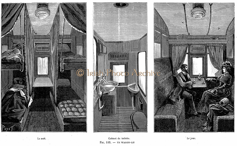 Part of a French wagon-lit (sleeping car), showing accommodation by day and night and centre, the lavatory and WC. Carriages were double-glazed and heated and there was hot and cold running water. Wood engraving, 1890