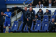 Cardiff city manager Neil Warnock ® reacts as he is furious with a 2nd half decision by the referee  Peter Bankes .  EFL Skybet championship match, Cardiff city v Birmingham City at the Cardiff city stadium in Cardiff, South Wales on Saturday 10th March 2018.<br /> pic by Andrew Orchard, Andrew Orchard sports photography.
