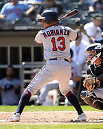 CHICAGO - AUGUST 29:  Ehire Adrianza #13 of the Minnesota Twins bats against the Chicago White Sox on August 29, 2019 at Guaranteed Rate Field in Chicago, Illinois.  (Photo by Ron Vesely)  Subject:   Ehire Adrianza