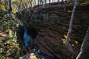 View of tranquil Pewits Nest State Natural Area on a beautiful autumn day, near Baraboo, Sauk County, Wisconsin.