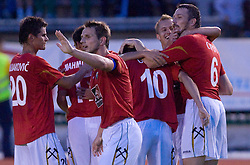 Players of Rudar (Mujakovic, Sulejmanovic, Cipot) celebrates at 1st Round of Europe League football match between NK Rudar Velenje (Slovenia) and Trans Narva (Estonia), on July 9 2009, in Velenje, Slovenia. Rudar won 3:1 and qualified to 2nd Round. (Photo by Vid Ponikvar / Sportida)