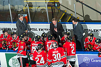 KELOWNA, BC - FEBRUARY 8: Portland Winterhawks' Assistant Coach Don Hay, Head Coach and GM, Mike Johnston and Associate Coach and Asst. GM, Kyle Gustafson, stand on the bench during third period at the Kelowna Rockets at Prospera Place on February 8, 2020 in Kelowna, Canada. (Photo by Marissa Baecker/Shoot the Breeze)
