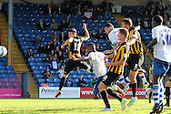Bury's No.9 Anton Forrester (c) rises highest to score Bury's equaliser in the 1-1 draw. Skybet football league two match, Bury v Southend Utd at Gigg Lane in Bury, England on Sat 21st Sept 2013. pic by David Richards/Andrew Orchard sports photography