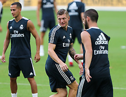 July 30, 2018 - Miami Gardens, Florida, USA - Real Madrid C.F. midfielder Toni Kroos in action (center)  during a team's open training session for the International Champions Cup match between Real Madrid C.F. and Manchester United F.C. at the Hard Rock Stadium in Miami Gardens, Florida. (Credit Image: © Mario Houben via ZUMA Wire)