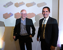 © Licensed to London News Pictures . 28/07/2016 . Manchester , UK . Architect KEN SHUTTLEWORTH and GARY NEVILLE at the launch of the St Michael's city centre development , at the Lord Mayor's Parlour in Manchester Town Hall . Backed by The Jackson's Row Development Partnership (comprising Gary Neville , Ryan Giggs and Brendan Flood ) along with Manchester City Council , Rowsley Ltd and Beijing Construction and Engineering Group International , the Jackson's Row area of the city centre will be redeveloped with a design proposed by Make Architects . Photo credit : Joel Goodman/LNP