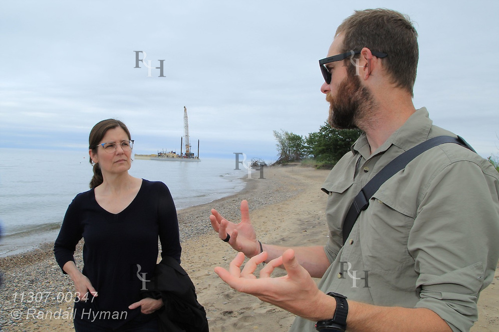 University of Pennsylvania Assistant Professor of Landscape Architecture, Sean Burkholder, talks with GLPF's Communications  Manager Amy Elledge about Healthy Ports project at Illinois Beach State Park; Zion, Illinois.